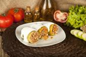 Stuffed zucchini, kabak dolmasi, Turkish and greek cuisine with concept background — Stock Photo