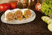 Stuffed zucchini, kabak dolmasi, Turkish and greek cuisine with concept background — Stock Photo