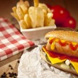 Hot Dog with fries and cheddar cheese concept background — Stock Photo #69360131