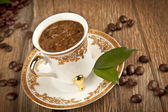 Traditional Turkish Coffee cup and coffee beans concept — Stock Photo