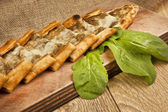 Turkish traditional eggplant and cheese Pide — Stock Photo