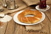 Close up of traditional turkish pastry bagel simit — Stock Photo