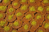 Turkish dessert kadayif kunefe with pistachios — Stock Photo