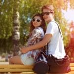 Summer sunny portrait happy urban young couple in sunglasses enj — Foto de Stock