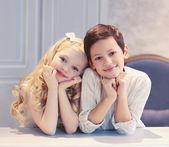 Cute happy kids boy and girl  — Stock Photo