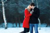 Lovely couple in love, tenderness, winter day — Stock Photo