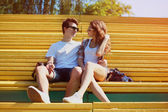 Sunny portrait young couple in love summer, stylish teenagers re — Stock Photo