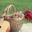 Guitar, basket and bouquet of flowers. Vintage tender background — Stock Photo #52920191
