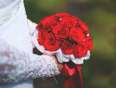 Red bridal bouquet — Stock Photo
