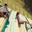 Modern urban young couple in the park, youth, love, dating, stud — Stock Photo #52973069