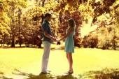 Autumn romance. Happy couple in love, warm sunny day  — Stock Photo
