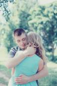 Lovely sensual couple in love, man embracing woman, warm feeling — Foto Stock