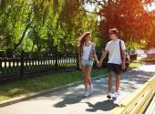 Urban young couple in love walking in sunny summer day, youth, l — Stock Photo