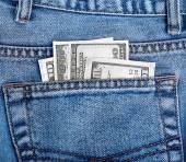 Money in the back pocket of jeans — Stock fotografie