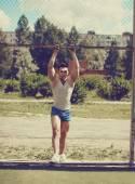 Ghetto street workout, vintage photo handsome man posing in urba — Stock Photo