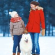 Christmas, winter and people concept - beautiful happy family ha — Stock Photo #57238949