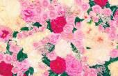 Hintergrund der vielen Blumen, florale Dekoration Wand. Sanfte einfügen — Stockfoto