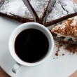Cup of black cofee with chocolate cake — Stock Photo #62777407