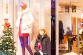 Boutique display window with mannequins — Stock Photo
