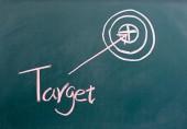 Target drawing on blackboard — Stock Photo