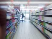 Interior of supermarket shelves — Stock Photo