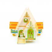 Small wooden house maquette — Stock Photo