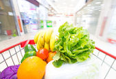 Shopping cart with fruits and Vegetables — Photo