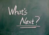 "Words ""What's next"" written on blackboard — Stock Photo"