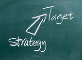 Strategy,target written on blackboard  — Stock Photo