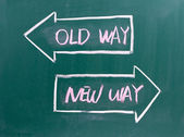 Old Way, New Way written on a blackboard — Stock Photo