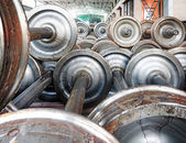 Production of the steel train wheels — Stock Photo
