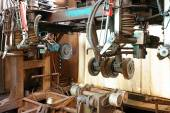 Closeup of innards of machine shop lathe  — Stock Photo
