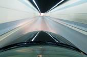 Acceleration speed motion on night road — Stock Photo