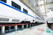 Fast train in the service depot — Stock Photo