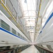 Fast train in the service depot — Stock Photo #66242959