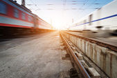 Fast moving trains — Stock Photo