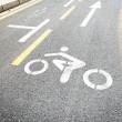 Bicycle road sign painted on the pavement — Stock Photo #66250573