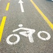 Bicycle road sign painted on the pavement — Stock Photo #66311387