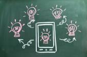 Innovation concept on blackboard — Stock Photo