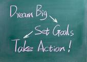 Dream Big, Set Goals and  Take Action words — Stock Photo