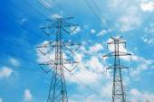 Metal High-voltage towers — Stock Photo