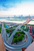 Overlooking the vehicle motion blur on shanghai elevated road — Stock Photo