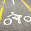 Bicycle road sign painted on the pavement — Stock Photo #66391175