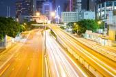 Hong Kong night view with car lights — Stock Photo
