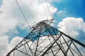 High-voltage tower on sky background — Stock Photo