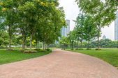 City park with modern building — Stock Photo