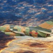 Military airplane flying on the speed — Stock Photo #74173585
