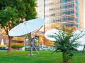 Satellite station near the building — Stock Photo
