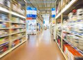 Empty supermarket aisle — Stock Photo