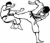 Karate üniformalı erkeklere — Stok Vektör